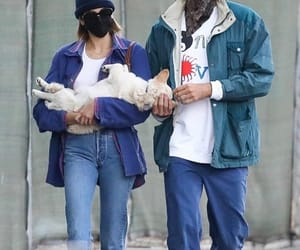 couple, puppy, and kaia gerber image