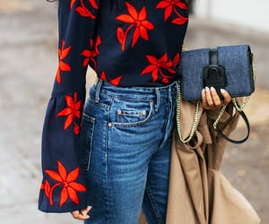 denim, fashion, and floral blouse image