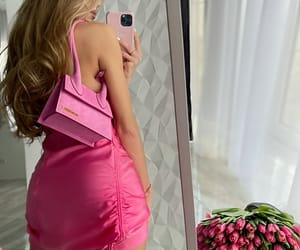 fashion, flowers, and pink dress image