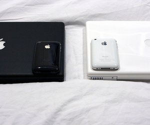 apple, iphone, and black and white image