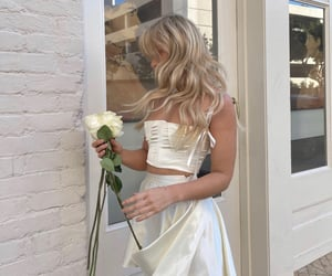 fashion, flowers, and white image