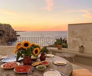 food, sunset, and dinner image
