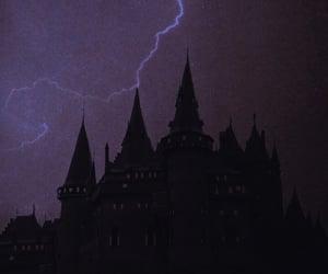 castle, night, and purple image
