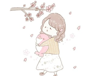 cherry, girl, and cherryblossom image