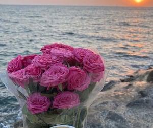 coffee, flowers, and ocean image