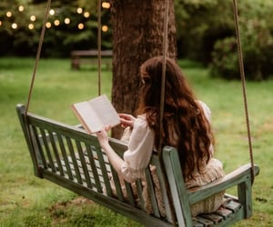 bench, books, and cottage image