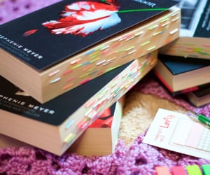 book, new moon, and annotations image