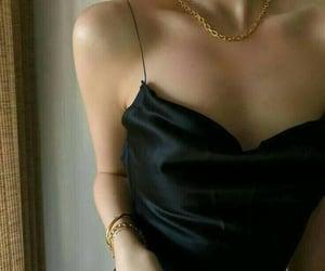 black, silk, and dress image
