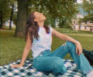 brunette, living, and park image