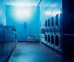 nighttime, laundry mat, and blue esthetic image