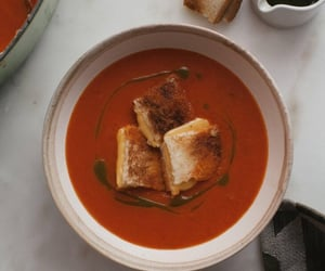 roast tomato soup and grilled cheese crouton image
