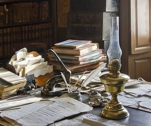 desk, vintage, and book image