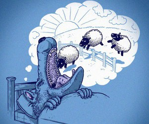 art, wolf, and sheeps image