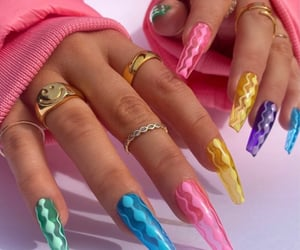 colorful nails, jewelry, and nail art image