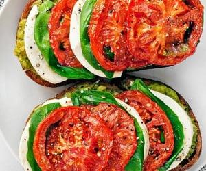 avocado, basil, and roast tomato image