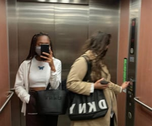 dkny, mirror, and elevator image