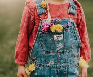 child, flowers, and overalls image