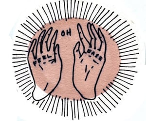 hands, art, and text image