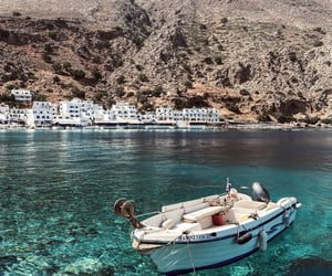 Greece, sea, and boat image