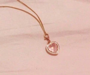 necklace, pink, and heart image