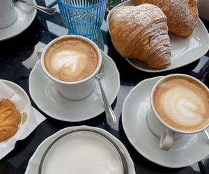 coffee, croissant, and fashion image