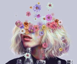 flowers, art, and bottle image