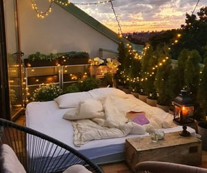 bed, home, and lights image