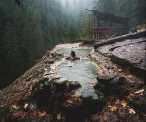 autumn, cabin, and could image