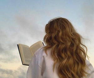 book, hair, and girl image
