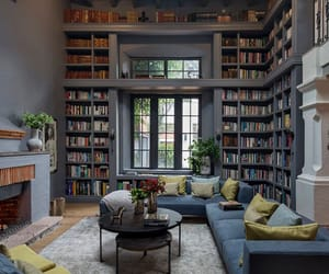 decor, interior, and library image