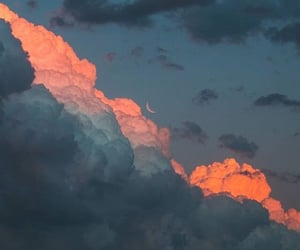 clouds, sunset, and moon image