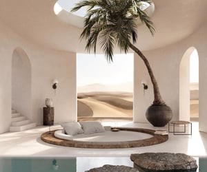 interior design, sand, and oasis image