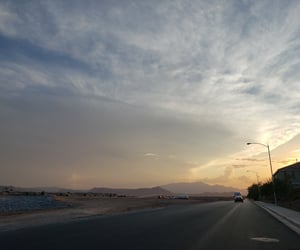 clouds, road, and evening image