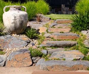 back garden ideas, steep slope landscaping, and hillside landscaping image