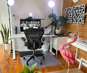 black and white, home office, and office design image
