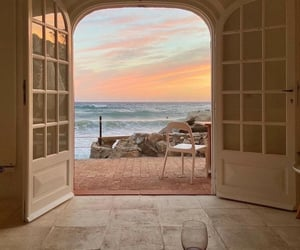home, ocean, and sunset image