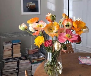 flowers, books, and room image
