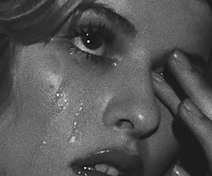 aesthetic, black and white, and cry image