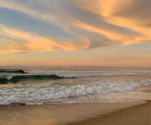 sunset, sea, and beach image