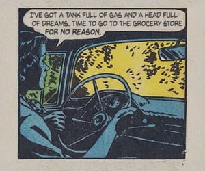 comic, car, and vintage image