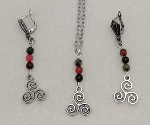 etsy, tourmaline necklace, and dangling earrings image