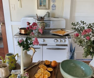 kitchen, flowers, and food image