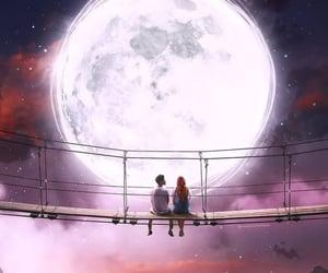 art, moon, and couple image