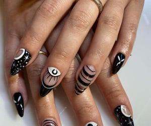 black nails, black acrylics, and spooky nail art image