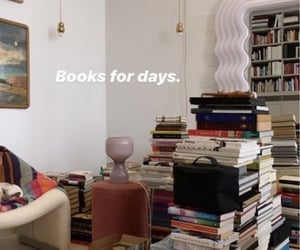 apartment, books, and interior decor image