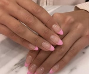 acrylic nails, french tips, and pink image