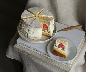 cake, delicious, and strawberry image
