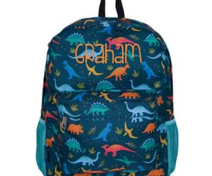 dinosaurs, personalized gift, and monogrammed backpack image