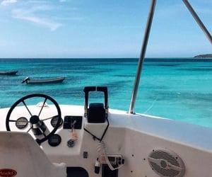 beach, boat, and ocean image