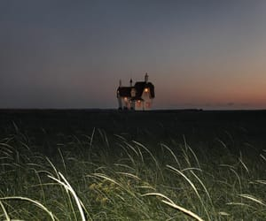 grass, house, and sunset image